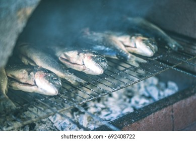 Sea Bream on Barbecue, Croatian / Mediterranean Food