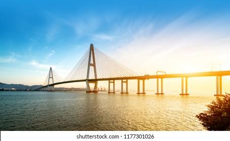 Sea Bridge at Dusk and Fantasy Sky, Shantou, Guangdong, China.