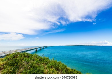 Sea, bridge, landscape. Okinawa, Japan.