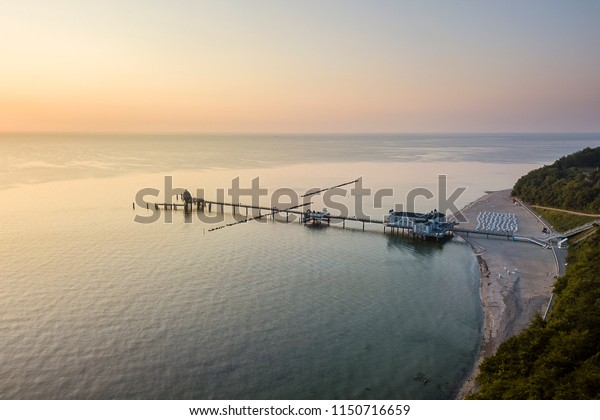 Sea bridge in Selling from above, Rügen, Germany