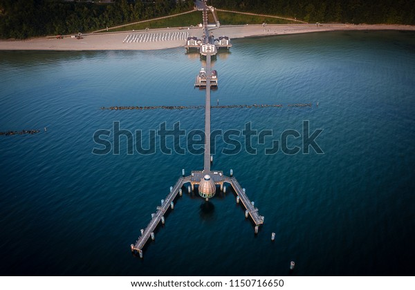 Sea bridge in Selling from drone above, Rügen, Germany