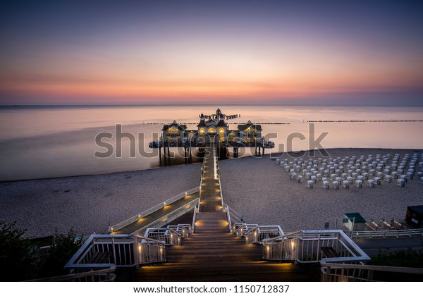 Sea bridge of Selling during sunset on the island of Rügen, Germany