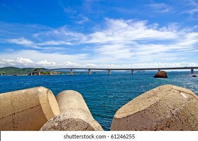 Sea and bridge of summer Tunosima
