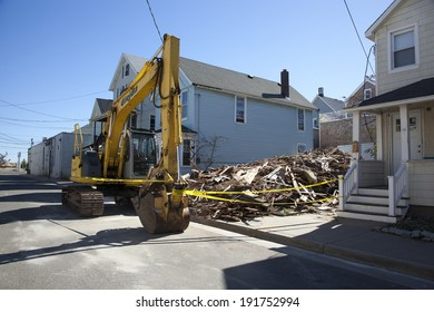 SEA BRIGHT, NJ - OCTOBER 15:  Rebuilding continues on the Jersey Shore nearly one year after Hurricane Sandy hit New Jersey. Photo taken October 15, 2013.