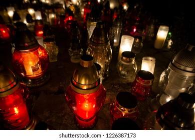 Sea of candles illuminating at night. Celebrating All Saints' Day.