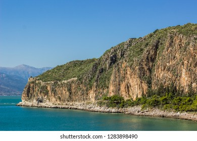sea cape steep mountain rock nature object scenic summer landscape in bright clear summer weather time, world daily planet beautiful sites concept photography