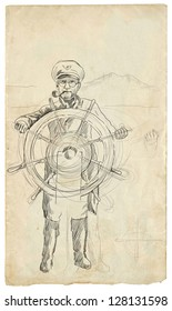 Sea Captain, The Leader. /// Full sized hand drawing illustration.