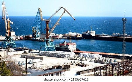 Sea cargo port in the Crimea