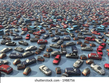 A sea of cars. By adjusting the output level sliders, effective text background for reports can be created
