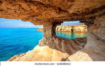 Sea cave near Cape Greko(Capo Greco) of Ayia Napa and Protaras on Cyprus island, Mediterranean Sea.