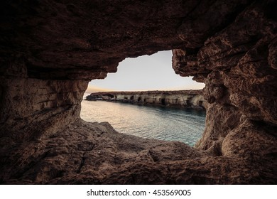 Sea caves near Cape Greco. Ayia Napa, Cyprus.