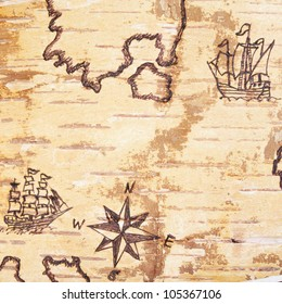The sea chart with ships on the order of olden time on birchbark