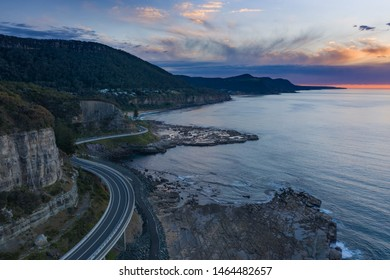 Sea Cliff Bridge at dawn.  The 665 metre long Sea Cliff Bridge is located on the Grand Pacific Drive at Coalcliff NSW. The bridge is an icon for locals and for many thousands that visit annually