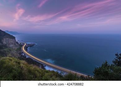 Sea Cliff Bridge at dusk