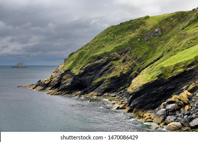 Sea cliffs and island south of Portloe in near Veryan on the Roseland Heritage Coast on the Atlantic Ocean Cornwall England