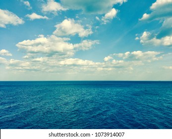 Sea and cloud sky background