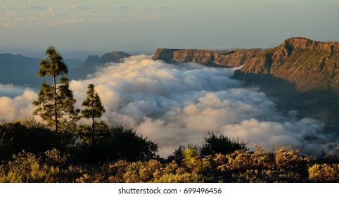 Sea of clouds among the mountains, Tirajana ravine, Gran canaria, Canary islands