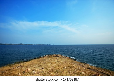 sea, clouds, blue sky, land