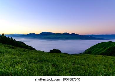 sea of clouds Mt. Aso  The most beautiful Aso Daikanbo, Sotowayama, sea of clouds 2020 (Summer) Aso City, Kumamoto Prefecture, Japan