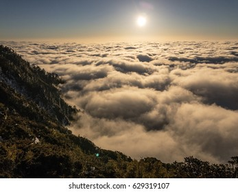 sea of clouds with the sunset