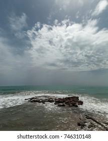 Sea clouds vertical panorama