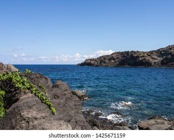 Sea, coast and cliff of Pantelleria, Sicily, Italy, beautiful mediterranean island