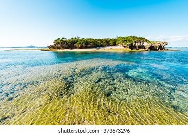 Sea, coast, island, seascape. Okinawa, Japan, Asia.