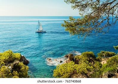 Sea coast in Lloret de Mar, Costa Brava, Catalonia, Spain.