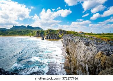 Sea, coast, rock, seascape. Okinawa, Japan, Asia.