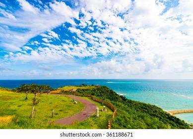 Sea, coast, seascape. Okinawa, Japan.
