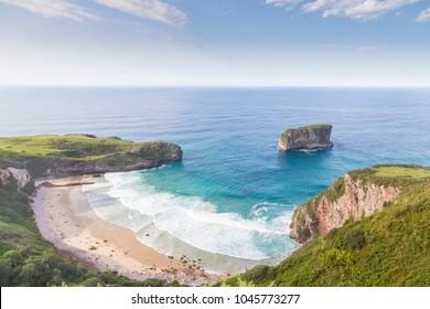 Sea coast view.  Beach on the coast of Asturias Spain. Bayota beach.