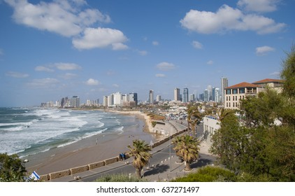 Sea coast and the view of the Tel Aviv from Old Jaffa. Israel