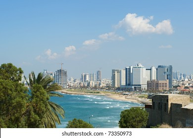 Sea coast and the view of the Tel Aviv