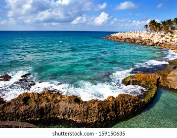 The sea coast in Xcaret park near Cozumel, Mexico