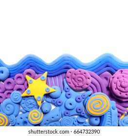 Sea. Colored decorative ornament, made in modeling techniques from plasticine