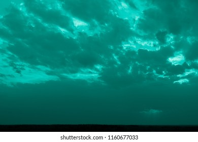 Sea colored landscape of the sky - clouds, horizon and earth