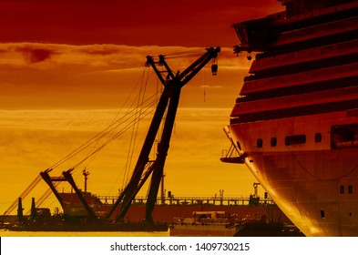 SEA CRANE AND CRUISE SHIP - Great floating machine as a mantis and moored passenger ship