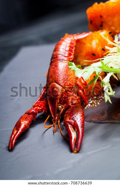 Sea Crawfish Sushi On Slate Dark Stock Photo (Edit Now) 708736639
