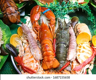 Sea crayfish cooked according to a special recipe. A dish of Chinese cuisine.