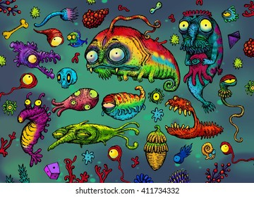 Sea creatures set. funny color illustration