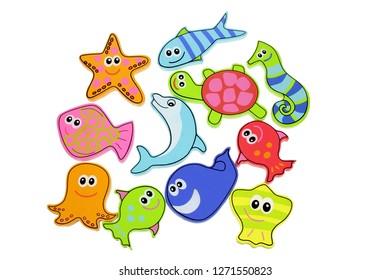 Sea Creatures Toys on White Background