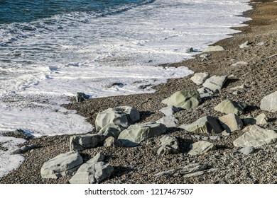 Sea defence rocks at Aberystwyth