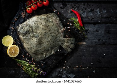 Sea delicacies. Fresh seafood. Turbot fish