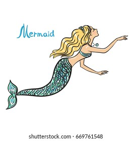 A sea fairytale mermaid on a white background.