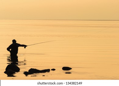 Sea flyfishing in the sunset