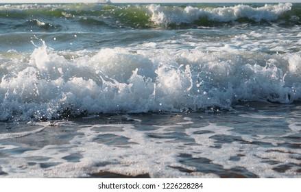 sea foam, seascape, waves on the sea, storm on the Baltic sea