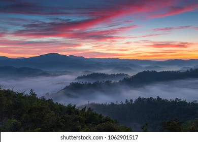 Sea of fogfrom the mountains ,Na Ton Chan village,located in Si Satchanalai district, Sukhothai Province ,Thailand