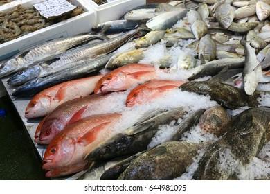 Sea food at Billingsgate Fish Market in Poplar, London, UK.