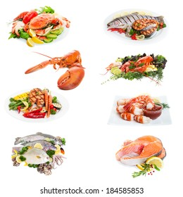 Sea food collage made from eight  photographs on white