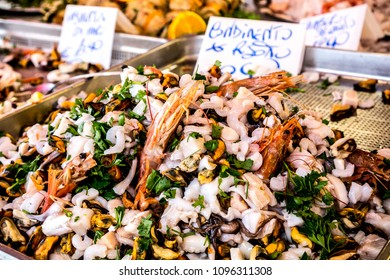 Sea food mix ready for sale on Balaro market in Palermo, Sicily